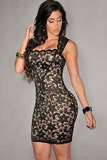 Abito A cono ricamato nudo trasparente pizzo Lace Nude Illusion Vintage Dress M