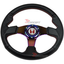 320mm JDM Steering Wheel Black Carbon Fiber NEO Chrome Spokes w/White H Emblem