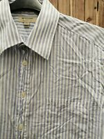 Burberry classic fit Men's Shirt Long Sleeve Stripped Blue/White Cotton Size 38