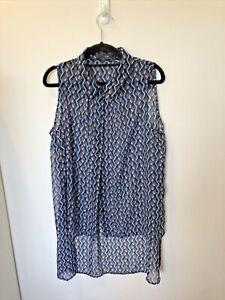 Cue Chiffon Patterned Sleeveless Shirt, Size 12