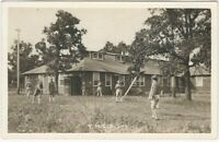 Uniformed Scouts Play Horseshoes at YMCA Camp Vintage Real Photo Postcard