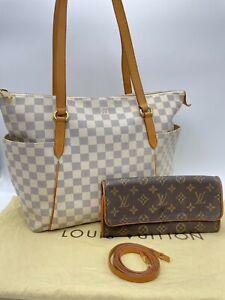 Auth Louis Vuitton Damier Azur Tottaly MM N51262 & Pochette Twin GM M51852 Set