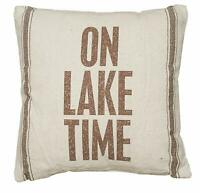 "Primitives by Kathy - Striped Throw Pillow, 15"" x 15"", On Lake Time."