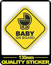 CAR VEHICLE BABY ON BOARD SIGN SAFETY STICKER WARNING DECAL BNIP PRAM 130MM