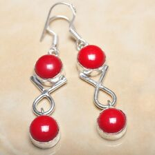 "Handmade Genuine Red Coral 925 Sterling Silver 2.25"" Earrings #E00217"
