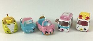 Shopkins Diecast Cutie Cars 5pc Lot Mini Vehicles Toys Banana Popcorn Ring Moose