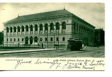 Public Library Building-Street Car-Trolley-Boston-Massachusetts-Vintage Postcard