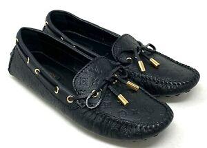 Authentic LOUIS VUITTON Monogram Driving Shoes Flats #36 US 4.5 Black Rank AB