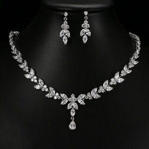 Crystal Wedding Necklace Earrings Set Stud Earrings Necklaces Women Jewelry Gift