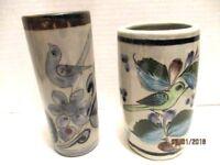 Lot 2 Glazed Gray Blue Mexico Pottery Cylinder Vases