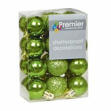 Decoración Árbol Navidad 24 Paquete 30mm Mini Inastillable Bolas - UN Verde
