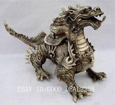 Oriental Huge Tibetan Silver Copper Handwork Carved luck Dragon Statue - Dragon