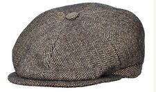 STETSON ITALY BROWN 100% WOOL NEWSBOY PAPERBOY CABBY CAP L 59 7 3/8 Herringbone