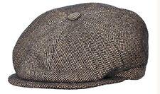 STETSON ITALY BROWN 100% WOOL NEWSBOY PAPERBOY CABBY CAP L 59 7 3/8 Herringbone