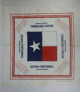 Vintage 1986 TEXAS Flag Sesquicentennial Bandana Handkerchief by Wamcraft