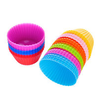12x Silicone Round Cake Cup Baking Cup Tool Bakeware Baking Mold Muffin Cases
