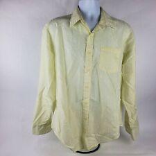 Attitude Mens Button Front Dress Shirt Sz 17 34 35 Yellow Long Sleeve Business
