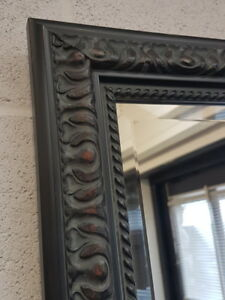 HANDCRAFTED BEVELLED MIRROR ORNATE BLACK MADE IN CUMBRIA SOLID WOOD