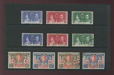 HONG KONG 1937 CORONATION + 1946 VICTORY SETS MINT + USED 10 stamps...cv £49