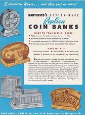 1950s BANTHRICO BANK ad sheet REPLICA BANKS - IDAHO - WESTERN etc