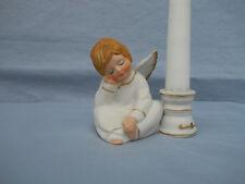 "Vtg Enesco 3""Sleeping Boy Angel Candle Holder Christmas Decor For 6"" Candle"