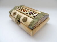 Decorative Vintage Antique Art Jewelry Trinket Box With Brass Hand Carved