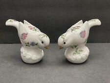 Vtg Ceramic Bird Salt Pepper Shakers Finch Ladybug Flowers Butterfly White Gold