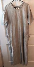 maxi Dress FLAX Jeanne Engelhart L Large Green Beige Striped linen Pockets