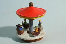 ca 1940 Erzgebirge Spielzeug Karussell mit 4 Pferden & Reitern