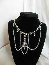 Vintage Victorian Style Clear Rhinestone Silver Tone Altered Necklace Romantic