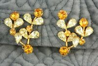 Vintage Weiss Co. Citrine Topaz Glass Rhinestone Gold Climber Clip-On Earrings