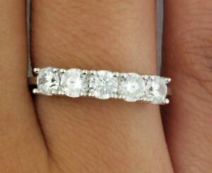 .75 Ct Round Cut 14k White Gold 5-Stone Wedding Anniversary Band Stackable Ring