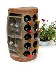 Botellero para Vino Madera Recipiente 1547 Mesa Auxiliar Barril 65CM Portavinos