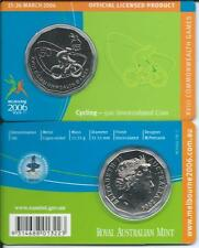 "2006 50 CENT MELBOURNE COMMONWEALTH GAMES IN CARD ""CYCLING"" COIN:UNC"