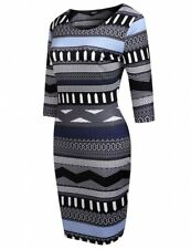 ADELINE - LADIES BLUE BLACK GREY WHITE GEOMETRIC SIZE 10-12 FITTED STRETCH DRESS