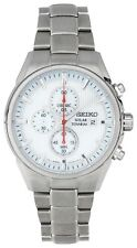 Seiko Men's White Dial Solar Powered Chrono Bracelet Watch. From Argos