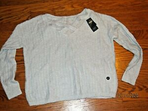 Hollister cropped sweater gray criss cross front top S small soft NEW