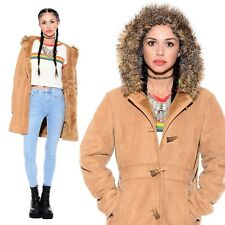 Vtg 90s Faux Suede HOODED Boho Hippie Sherpa Toggle 70s Fur Princess Coat Jacket