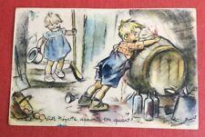 CPSM. Germaine BOURET. Vite Nénette, apporte ton quart!... 1946. Tonneau Vin.