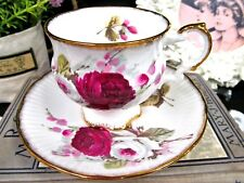 ELIZABETHAN tea cup and saucer red & white teacup pattern gold waisted design