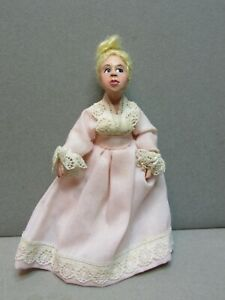 Vintage Miniature Dollhouse 1:12 Artisan Sculpted Doll Lady in Pink Dress w Lace
