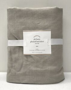 """NEW Pottery Barn PB Basic Pleated TWIN BedSkirt w/18"""" Drop~LINEN NATURAL"""