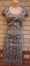 FLORENCE & FRED Beige Marrón De Piel De Serpiente Animal lápiz ceñido al cuerpo de fiesta sexy vestido 10