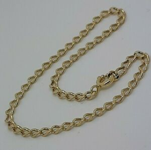 14ct Solid Yellow Gold Diamond Cut Curb link Chain Bracelet