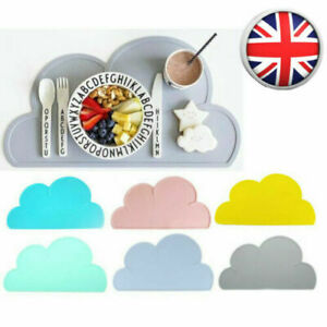 Baby Kids Bowl Silicone Placemat Cloud Shaped Kitchen Pad Dining Table Mat UK