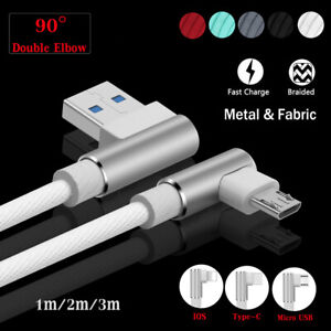 1~3M Braided Type C IOS Micro USB Android Fast Charger Cable For iPhone 8 7 6 6s