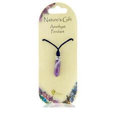 Pretty Purple Amethyst Pendulum Crystal on Black Cord Natures Gift Gem Necklace