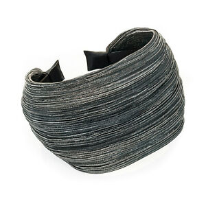 Gorgeous 8cm EXTRA WIDE black & silver headband - aliceband