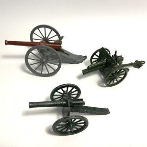 Vintage Britains Cresent Cannon Metal Model Toys X 3 Job Lot