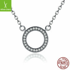 Fit Women 925 sterling Heart Necklace Clear CZ Round Shaped Chokers Pendant Gift